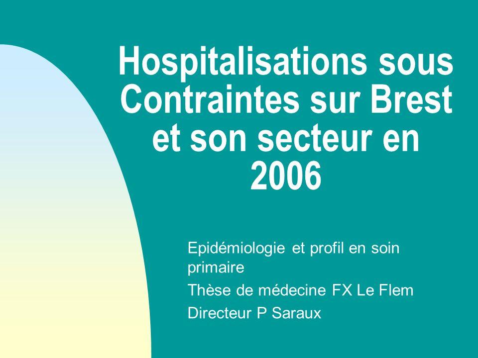 Hospitalisations sous Contraintes sur Brest et son secteur en 2006 Epidémiologie et profil en soin primaire Thèse de médecine FX Le Flem Directeur P S
