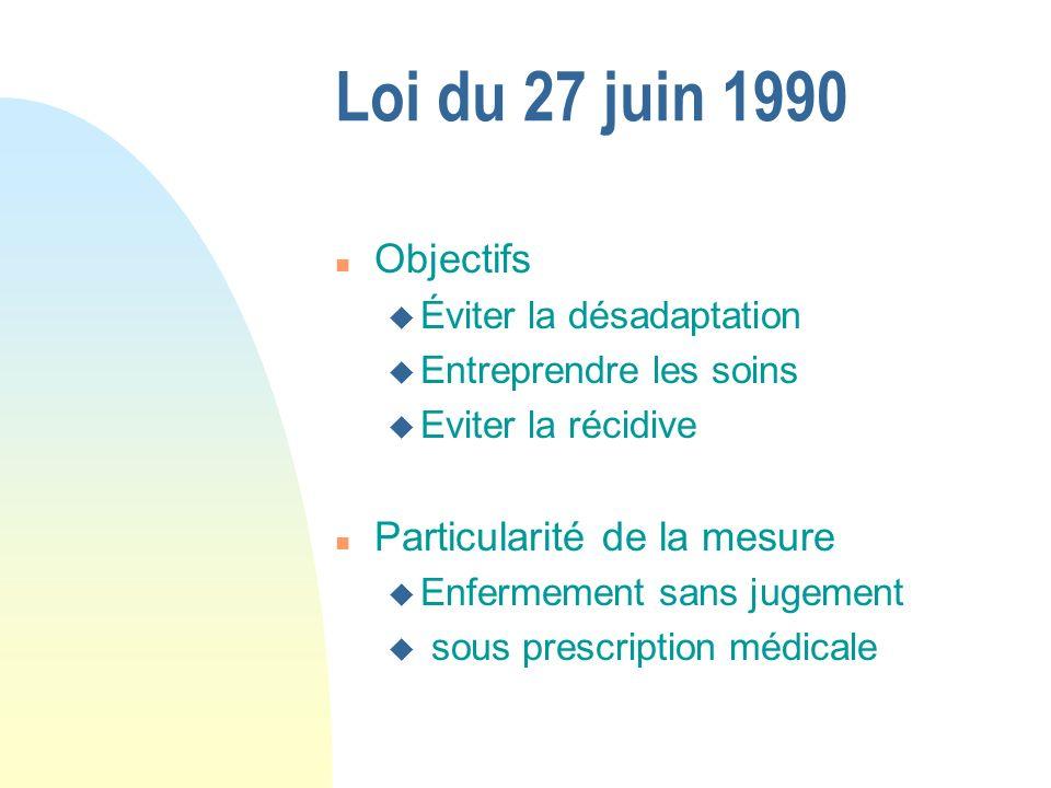 Loi du 27 juin 1990 n Objectifs u Éviter la désadaptation u Entreprendre les soins u Eviter la récidive n Particularité de la mesure u Enfermement san