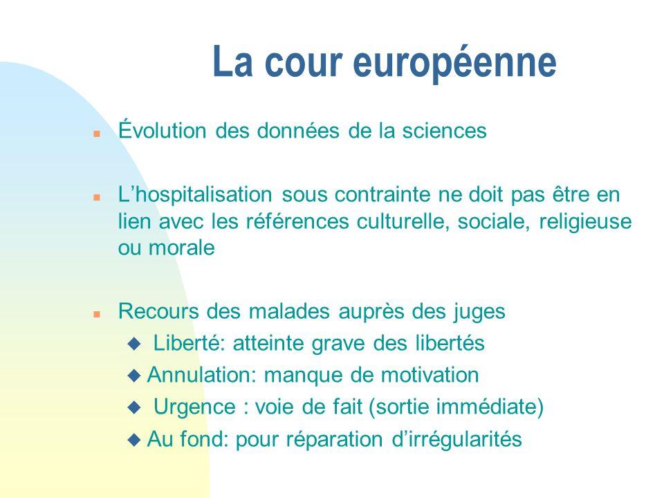 La cour européenne n Évolution des données de la sciences n Lhospitalisation sous contrainte ne doit pas être en lien avec les références culturelle,