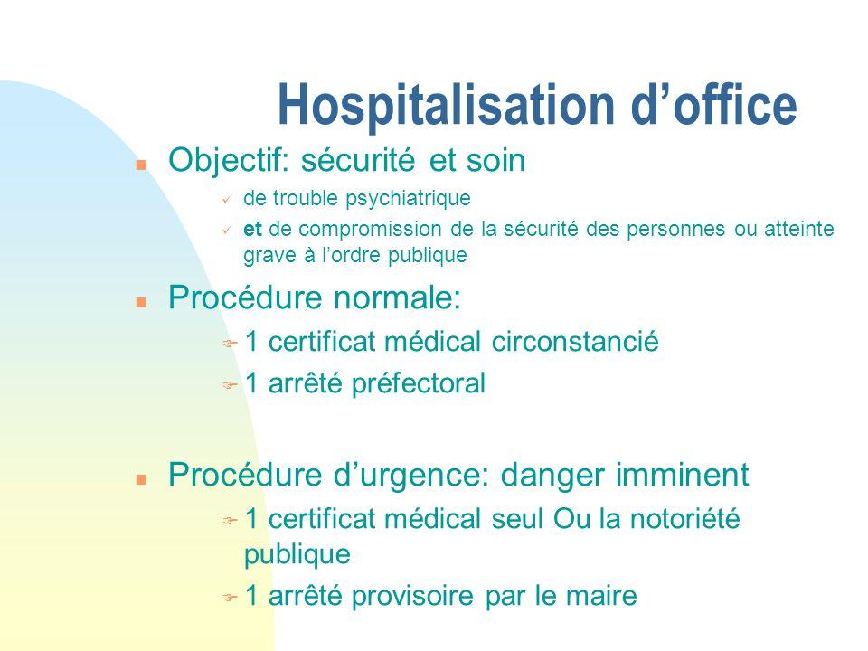 Hospitalisation doffice n Objectif: sécurité et soin de trouble psychiatrique et de compromission de la sécurité des personnes ou atteinte grave à lor