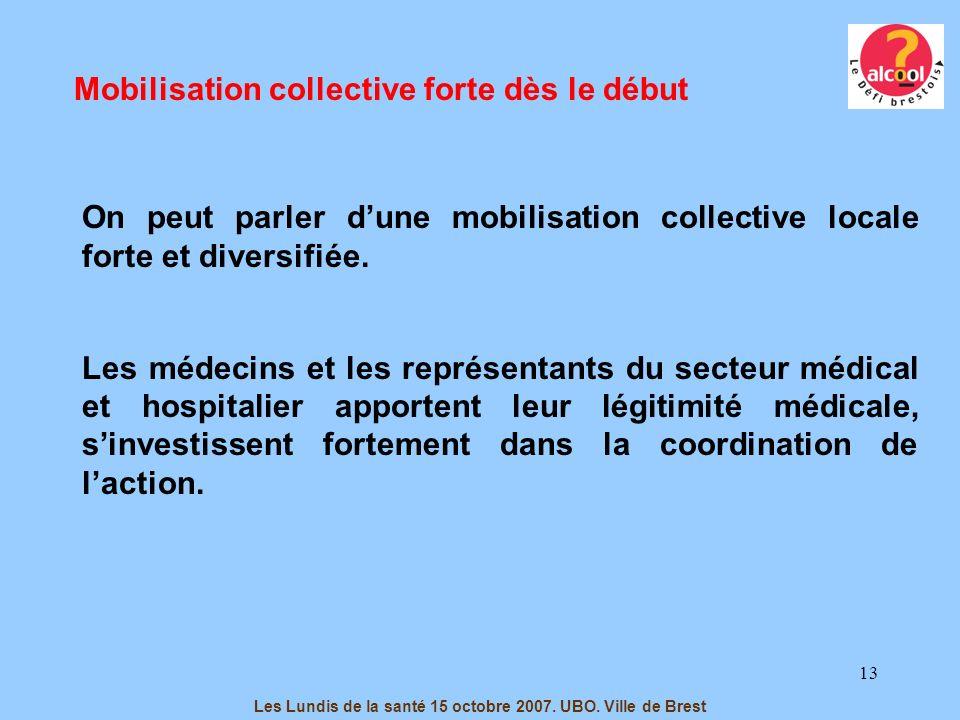13 Mobilisation collective forte dès le début On peut parler dune mobilisation collective locale forte et diversifiée. Les médecins et les représentan