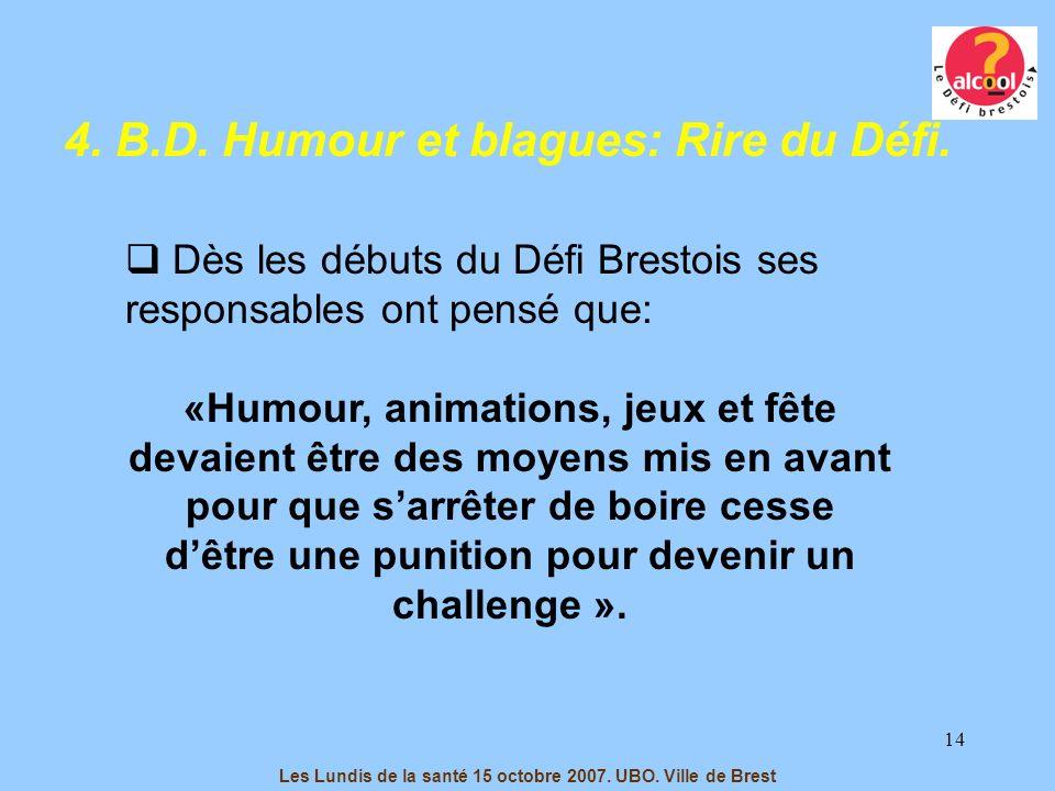 14 4. B.D. Humour et blagues: Rire du Défi. Dès les débuts du Défi Brestois ses responsables ont pensé que: «Humour, animations, jeux et fête devaient