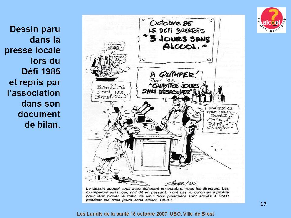 15 Dessin paru dans la presse locale lors du Défi 1985 et repris par lassociation dans son document de bilan. Les Lundis de la santé 15 octobre 2007.