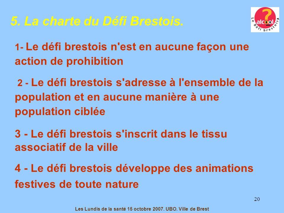 20 5. La charte du Défi Brestois. 1- Le défi brestois n'est en aucune façon une action de prohibition 2 - Le défi brestois s'adresse à l'ensemble de l