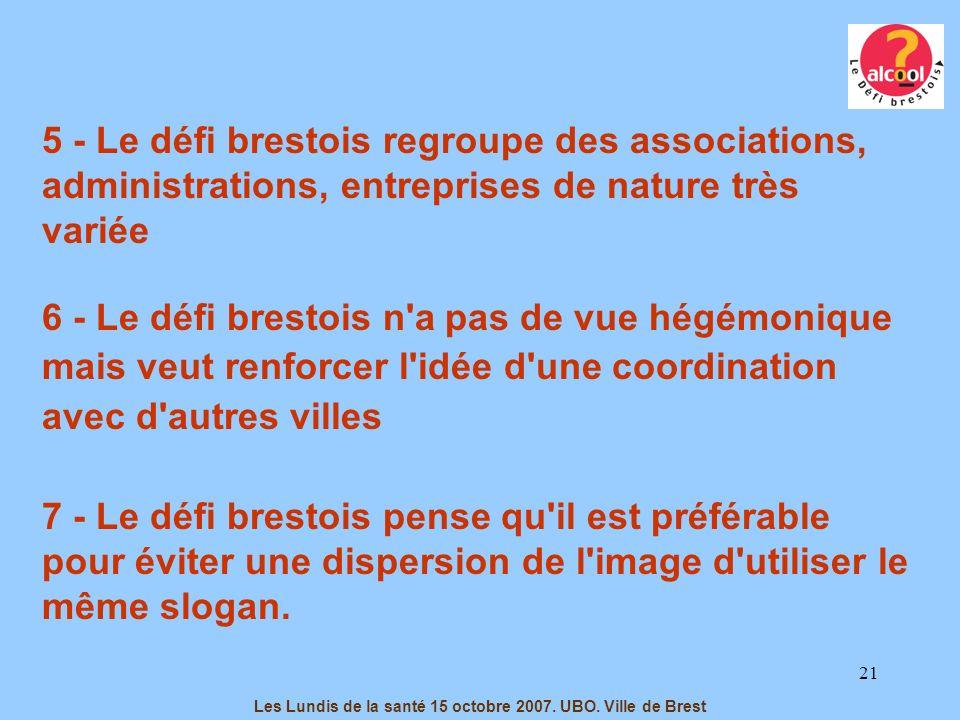 21 5 - Le défi brestois regroupe des associations, administrations, entreprises de nature très variée 6 - Le défi brestois n'a pas de vue hégémonique