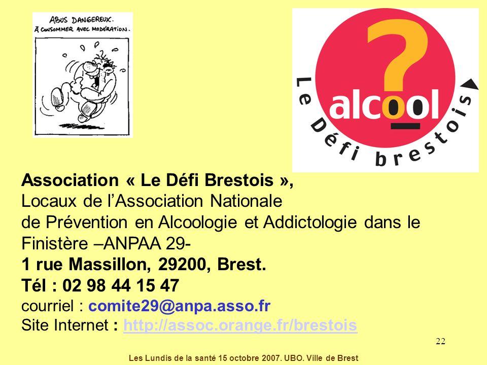 22 Association « Le Défi Brestois », Locaux de lAssociation Nationale de Prévention en Alcoologie et Addictologie dans le Finistère –ANPAA 29- 1 rue M