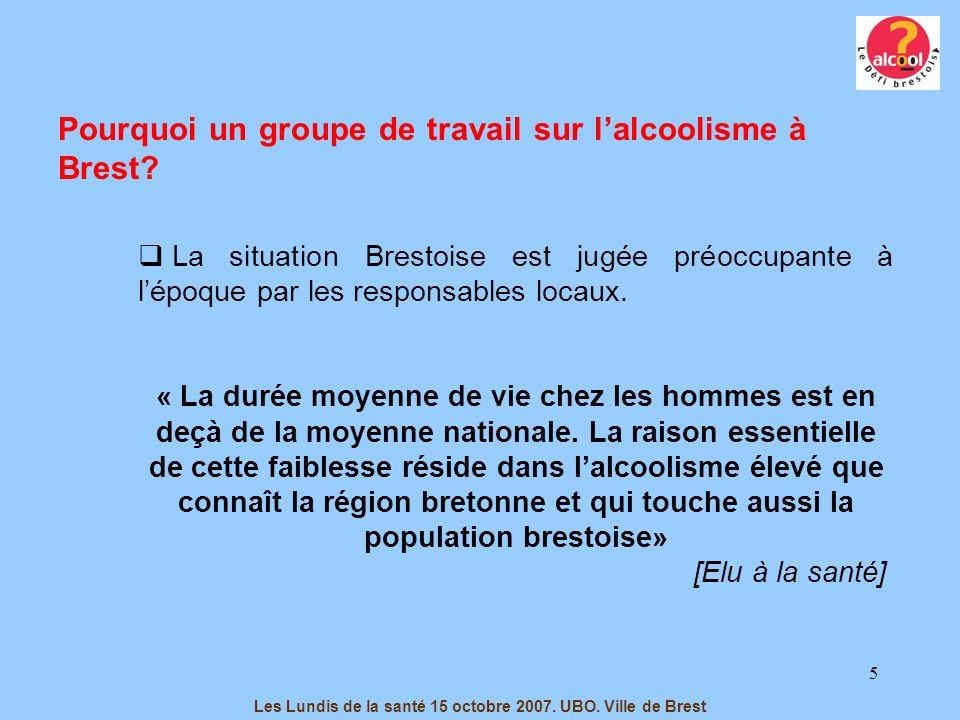 5 Les Lundis de la santé 15 octobre 2007. UBO. Ville de Brest La situation Brestoise est jugée préoccupante à lépoque par les responsables locaux. « L