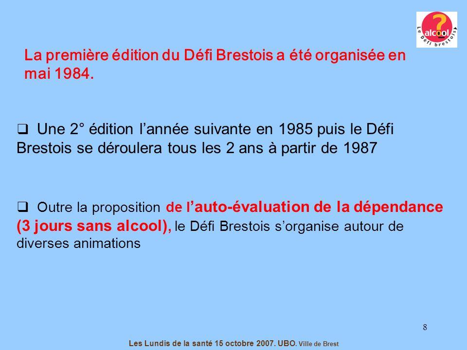 8 La première édition du Défi Brestois a été organisée en mai 1984. Les Lundis de la santé 15 octobre 2007. UBO. Ville de Brest Une 2° édition lannée