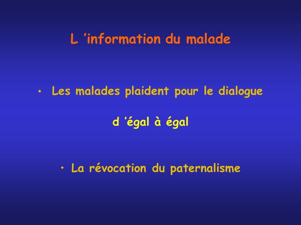 L information du malade Les malades plaident pour le dialogue d égal à égal La révocation du paternalisme