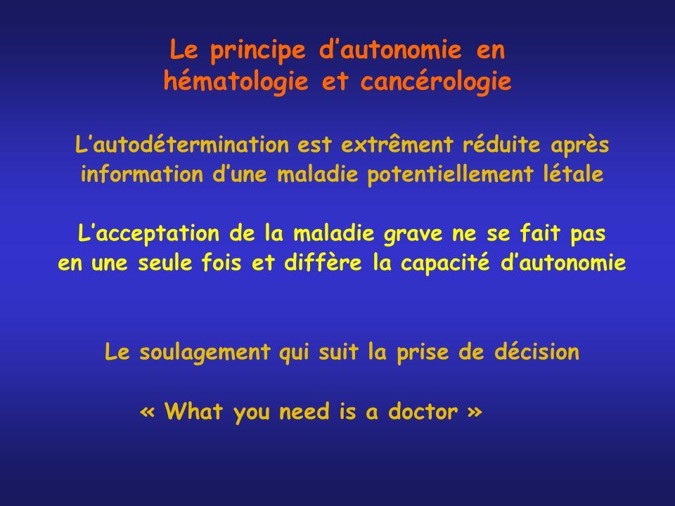 Le principe dautonomie en hématologie et cancérologie Lautodétermination est extrêment réduite après information dune maladie potentiellement létale L