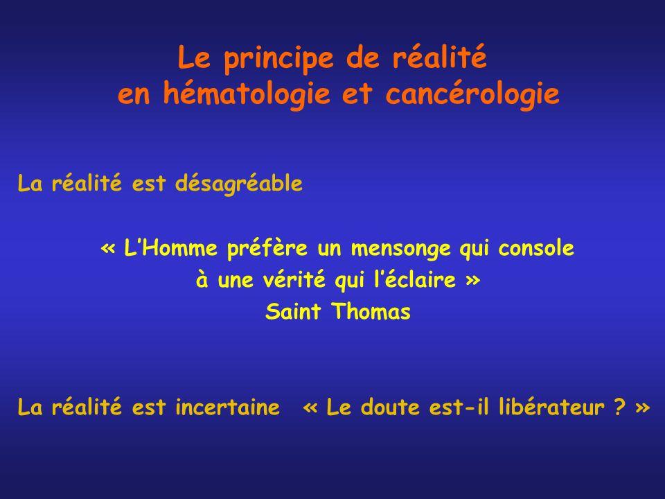 Le principe de réalité en hématologie et cancérologie La réalité est désagréable « LHomme préfère un mensonge qui console à une vérité qui léclaire »