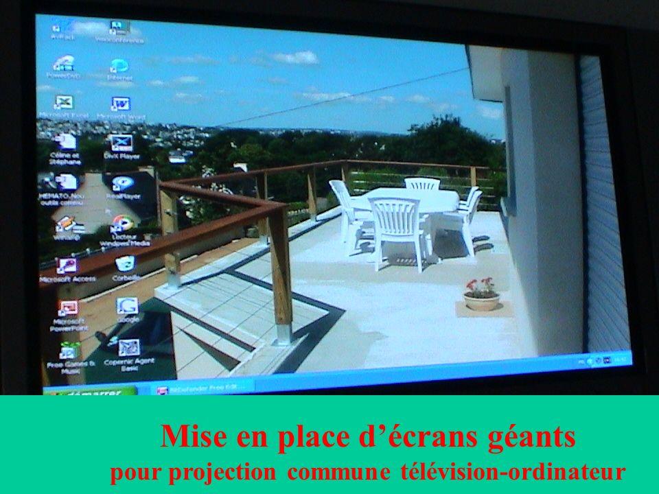 Mise en place décrans géants pour projection commune télévision-ordinateur
