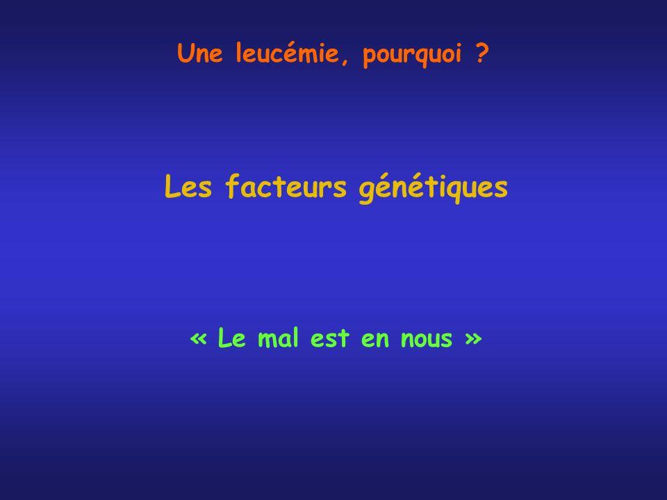 Les facteurs génétiques « Le mal est en nous » Une leucémie, pourquoi ?