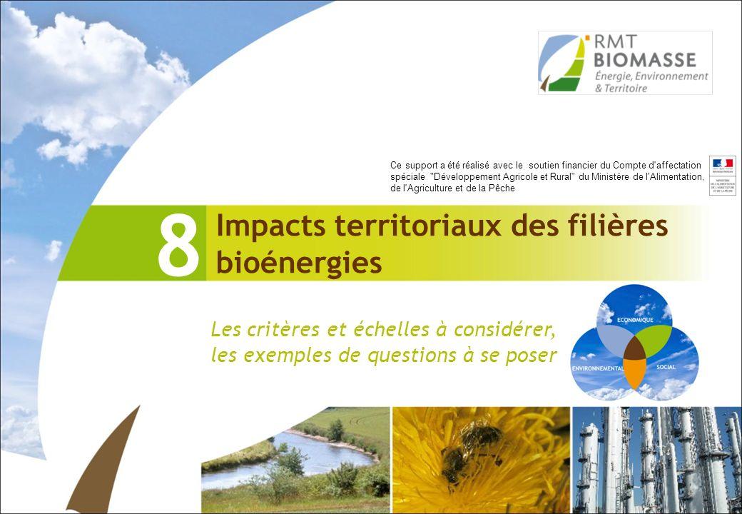 Impacts territoriaux des filières bioénergies 8 Les critères et échelles à considérer, les exemples de questions à se poser Ce support a été réalisé a