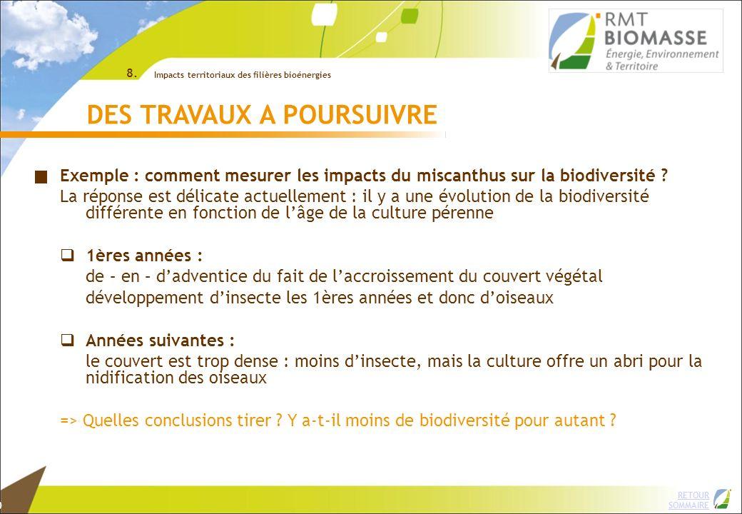 2 RETOUR SOMMAIRE © INRA DES TRAVAUX A POURSUIVRE Exemple : comment mesurer les impacts du miscanthus sur la biodiversité ? La réponse est délicate ac