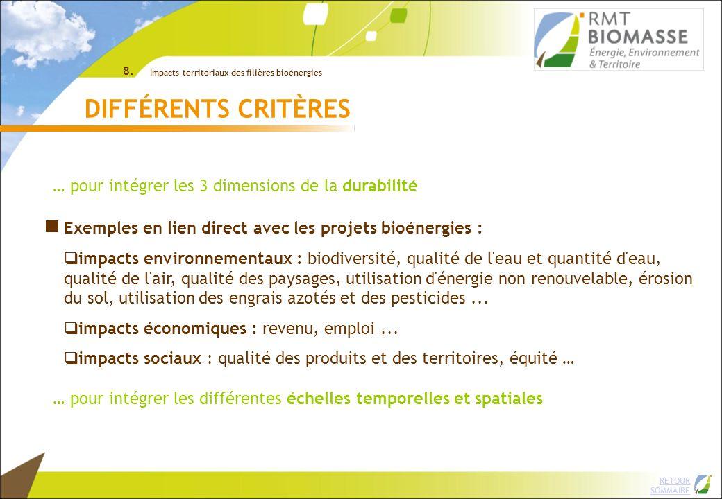RETOUR SOMMAIRE 8. Impacts territoriaux des filières bioénergies DIFFÉRENTS CRITÈRES Exemples en lien direct avec les projets bioénergies : impacts en