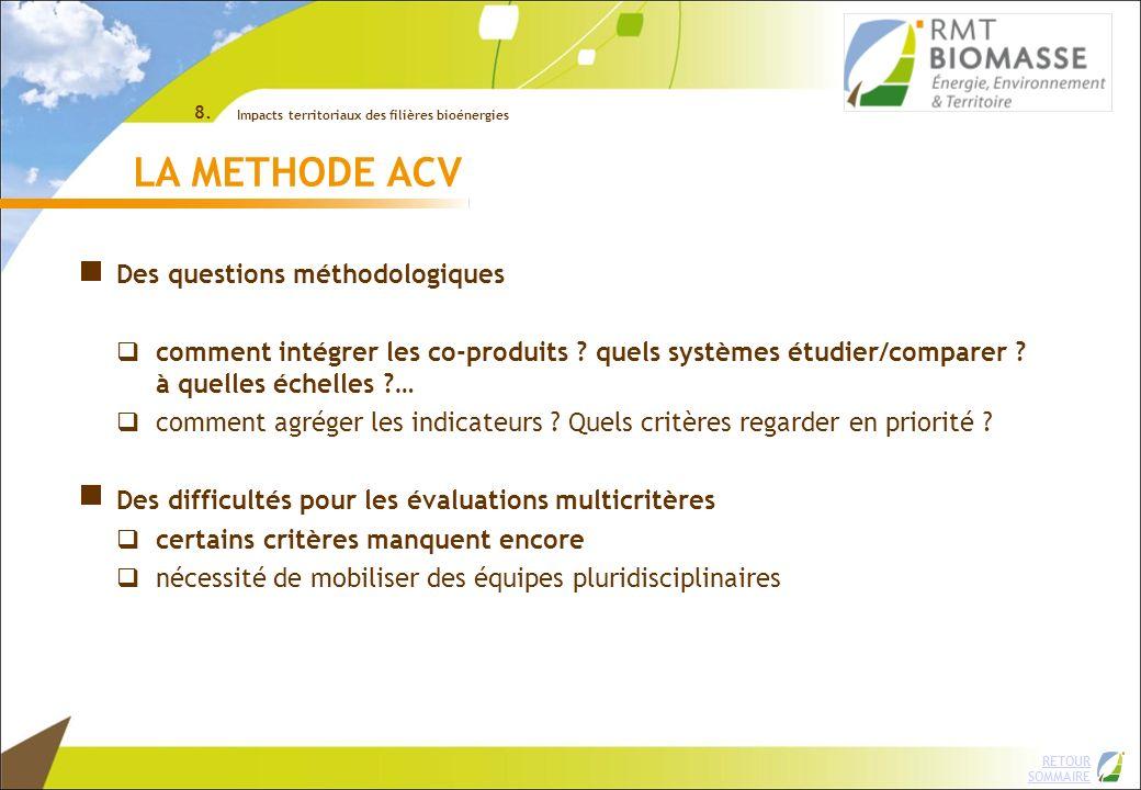 RETOUR SOMMAIRE LA METHODE ACV Des questions méthodologiques comment intégrer les co-produits ? quels systèmes étudier/comparer ? à quelles échelles ?