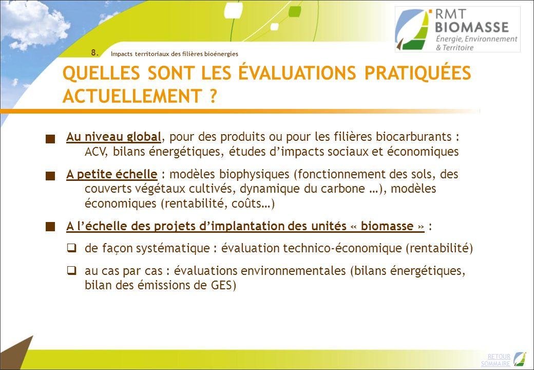 2 RETOUR SOMMAIRE © INRA => ACV : démarche lourde, difficile à appliquer systématiquement sur le terrain sur les projets bioénergies en filière courte EXEMPLES DOUTILS DÉVALUATION Plus dinformation sur ces outils : télécharger le document « analyse de 28 outils et méthodes » sur www.rmtbiomasse.org rubrique « Outils et documents » / dans « Evaluation environnementale, sociale et territoriale »www.rmtbiomasse.org 8.