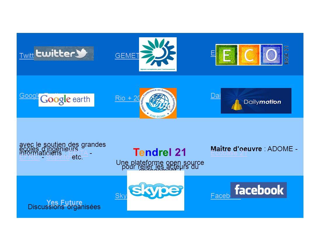 Twitter GEMET Ecobase 21 Google Earth Rio + 20 Daily Motion avec le soutien des grandes écoles d ingénieurs informaticiens : EPITA - EFREI - Supinfo etc.EPITA EFREISupinfo Tendrel 21 Une plateforme open source pour relier les acteurs du changement .