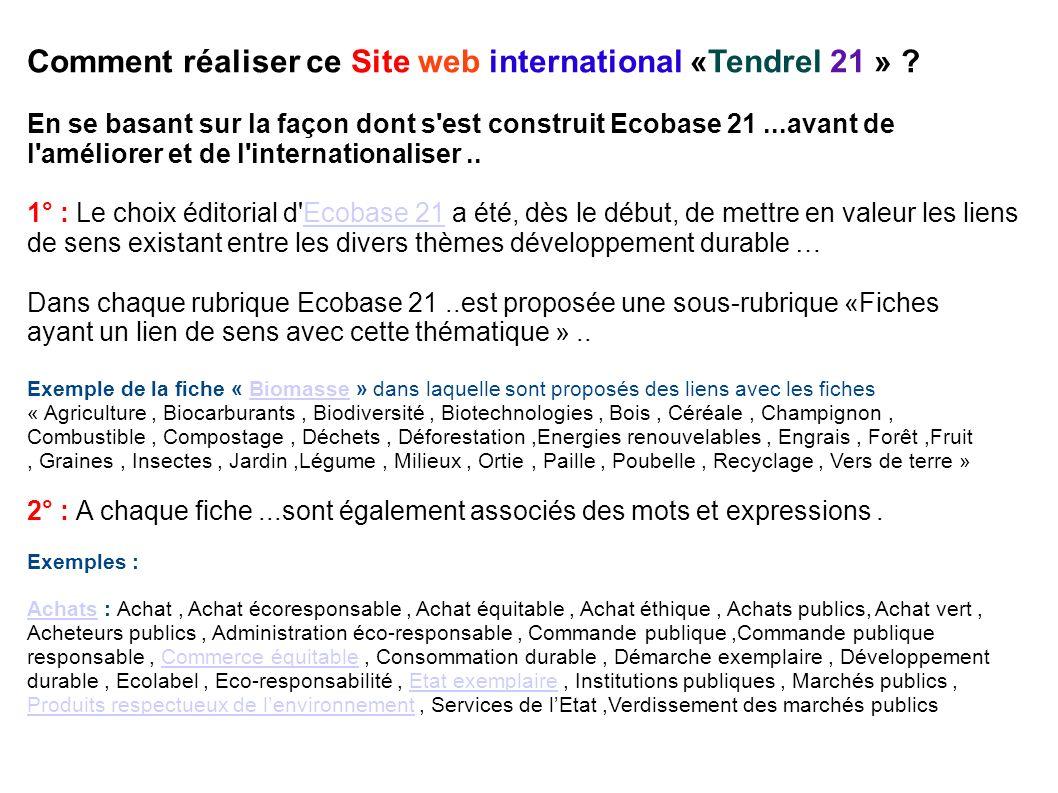 Comment réaliser ce Site web international «Tendrel 21 » .