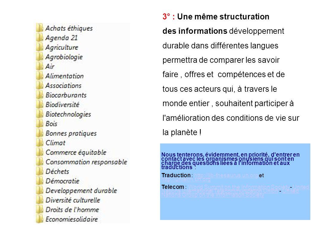 4° : Cette structuration complexe d informations reliées entre elles par une « toile de sens » peut être gérée par toutes les technologies dites du «websémantique»autour d unewebsémantique « colonne vertébrale » déjà existante [ l es fiches Ecobase 21...reliées entre elles par des mots et expressions qu elles partagent ] 4-1 : il est possible d en confier les améliorations et les mises à jour à diverses structures [ Réseaux,ONGs, Universités Etc..] 4-2 : il est possible d y faire participer les citoyens à travers les réseaux sociaux