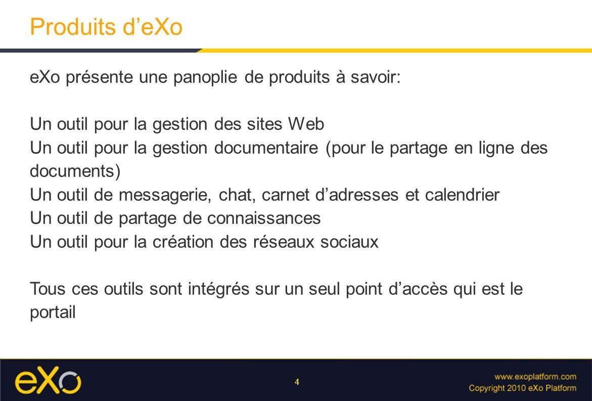 4 Produits deXo eXo présente une panoplie de produits à savoir: Un outil pour la gestion des sites Web Un outil pour la gestion documentaire (pour le