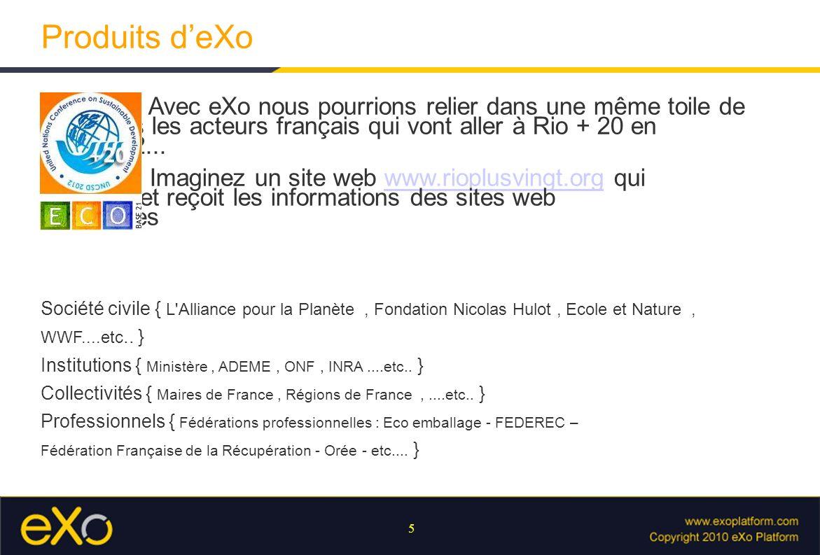5 Produits deXo Avec eXo nous pourrions relier dans une même toile de sens tous les acteurs français qui vont aller à Rio + 20 en Juin 2012... Imagine