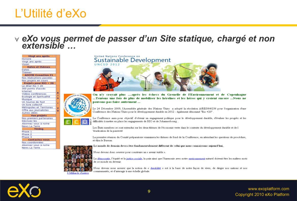 9 LUtilité deXo eXo vous permet de passer dun Site statique, chargé et non extensible …