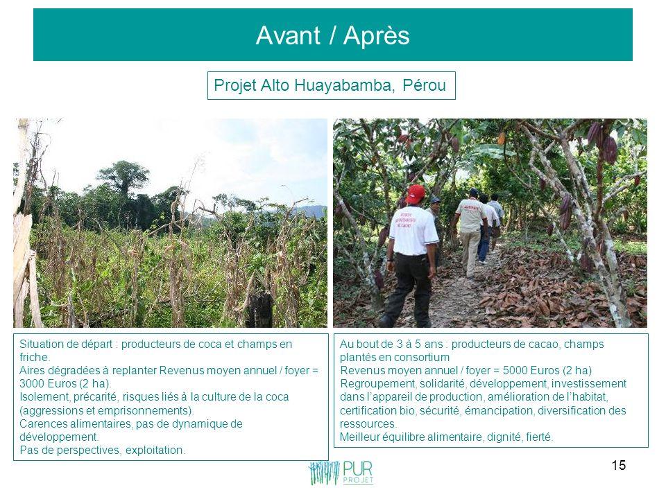 15 Avant / Après Projet Alto Huayabamba, Pérou Situation de départ : producteurs de coca et champs en friche. Aires dégradées à replanter Revenus moye