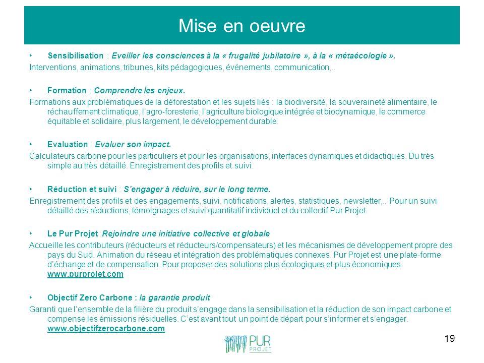 19 Mise en oeuvre Sensibilisation : Eveiller les consciences à la « frugalité jubilatoire », à la « métaécologie ». Interventions, animations, tribune