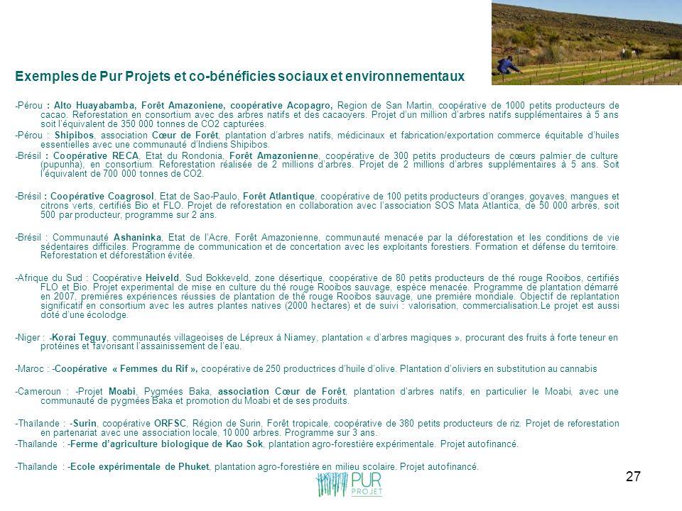 27 Exemples de Pur Projets et co-bénéficies sociaux et environnementaux -Pérou : Alto Huayabamba, Forêt Amazoniene, coopérative Acopagro, Region de Sa