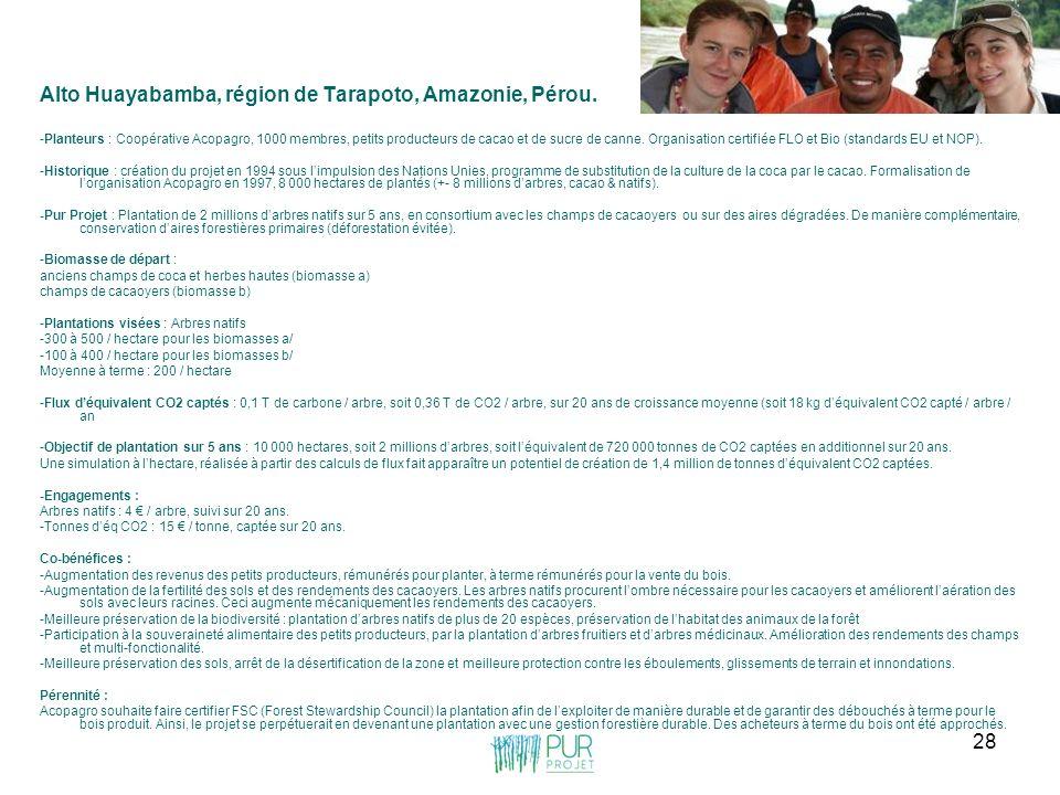 28 Alto Huayabamba, région de Tarapoto, Amazonie, Pérou. -Planteurs : Coopérative Acopagro, 1000 membres, petits producteurs de cacao et de sucre de c