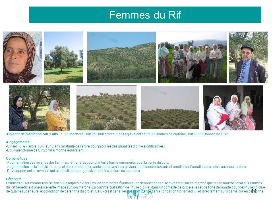 44 Femmes du Rif -Objectif de plantation sur 5 ans : 1 000 hectares, soit 250 000 arbres. Soit léquivalent de 25 000 tonnes de carbone, soit 90 000 to