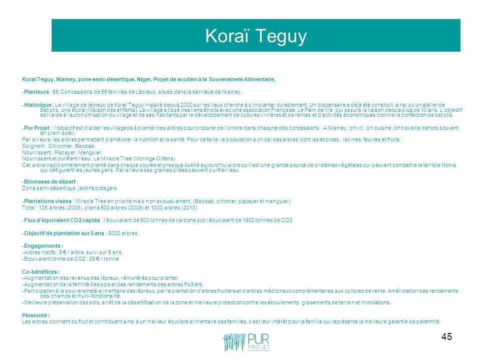 45 Koraï Teguy Koraï Teguy, Niamey, zone semi-désertique, Niger, Projet de soutien à la Souveraineté Alimentaire. -Planteurs : 55 Concessions de 55 fa