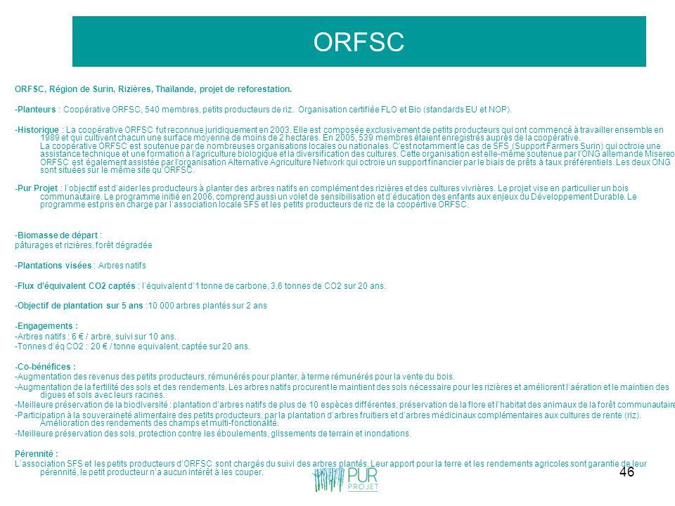 46 ORFSC ORFSC, Région de Surin, Rizières, Thaïlande, projet de reforestation. -Planteurs : Coopérative ORFSC, 540 membres, petits producteurs de riz.
