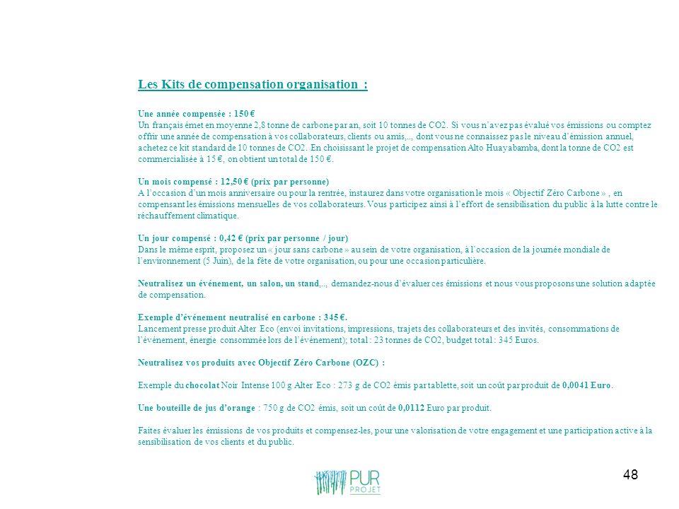 48 Les Kits de compensation organisation : Une année compensée : 150 Un français émet en moyenne 2,8 tonne de carbone par an, soit 10 tonnes de CO2. S