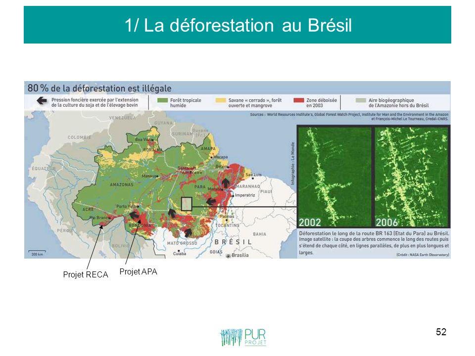 52 1/ La déforestation au Brésil Projet RECA Projet APA