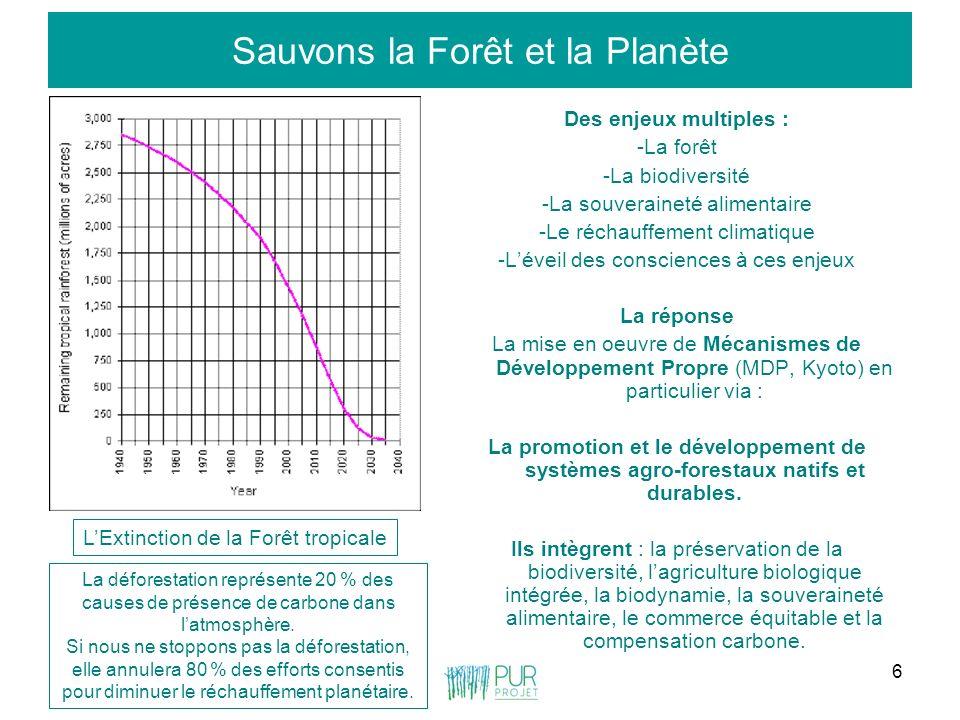6 Sauvons la Forêt et la Planète Des enjeux multiples : -La forêt -La biodiversité -La souveraineté alimentaire -Le réchauffement climatique -Léveil d