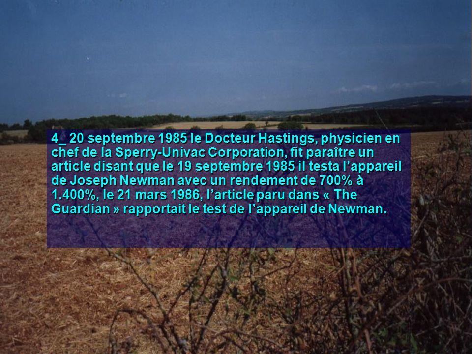 5_ 1987, Newman fit fonctionner son générateur en le fixant au châssis dune Porsche, remplaçant ainsi le moteur de la voiture.