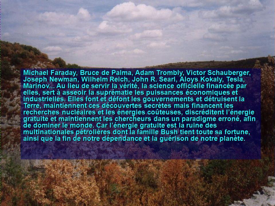 Michael Faraday, Bruce de Palma, Adam Trombly, Victor Schauberger, Joseph Newman, Wilhelm Reich, John R.
