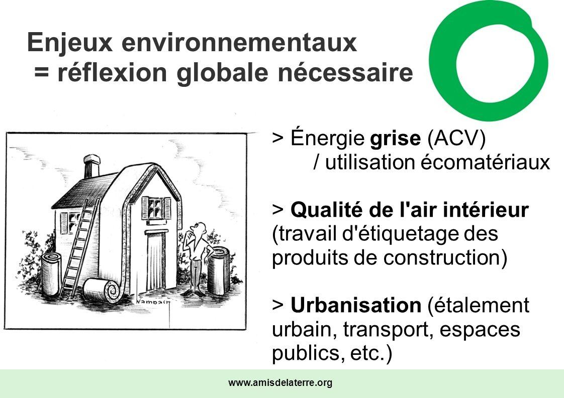 www.amisdelaterre.org Enjeux environnementaux = réflexion globale nécessaire > Énergie grise (ACV) / utilisation écomatériaux > Qualité de l'air intér