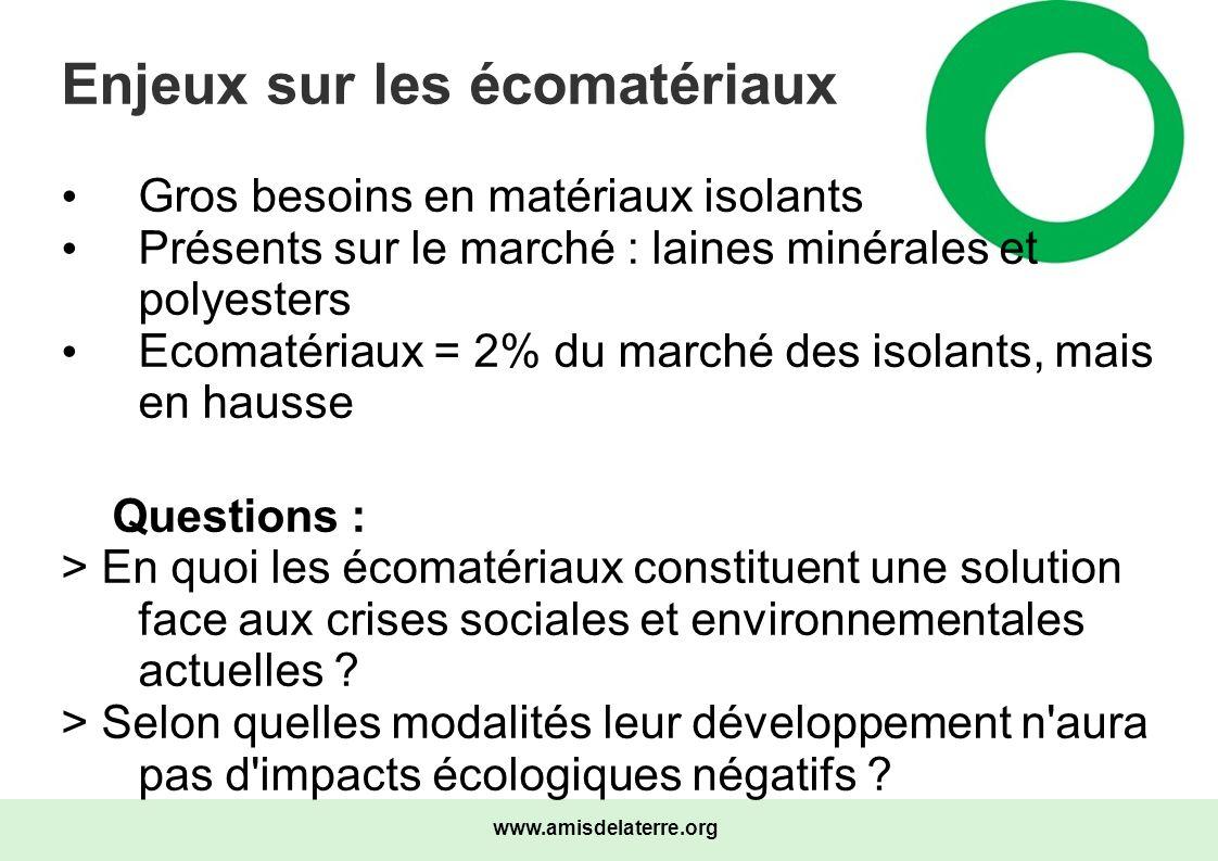 www.amisdelaterre.org Enjeux sur les écomatériaux Gros besoins en matériaux isolants Présents sur le marché : laines minérales et polyesters Ecomatéri
