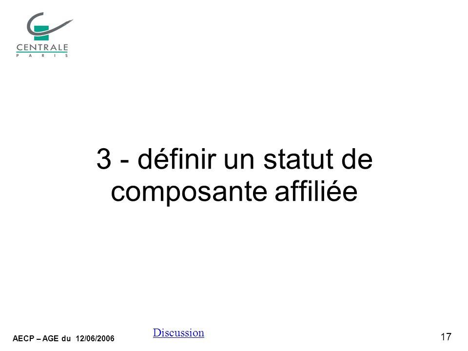 17 AECP – AGE du 12/06/2006 Discussion 3 - définir un statut de composante affiliée