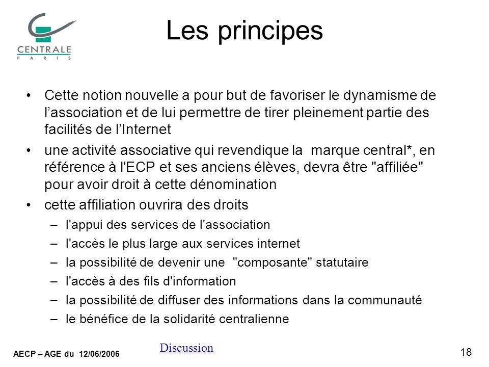 18 AECP – AGE du 12/06/2006 Discussion Les principes Cette notion nouvelle a pour but de favoriser le dynamisme de lassociation et de lui permettre de