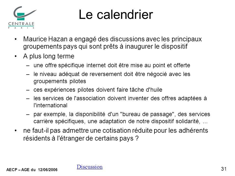 31 AECP – AGE du 12/06/2006 Discussion Le calendrier Maurice Hazan a engagé des discussions avec les principaux groupements pays qui sont prêts à inau