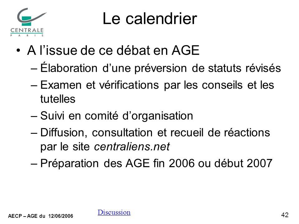 42 AECP – AGE du 12/06/2006 Discussion Le calendrier A lissue de ce débat en AGE –Élaboration dune préversion de statuts révisés –Examen et vérificati