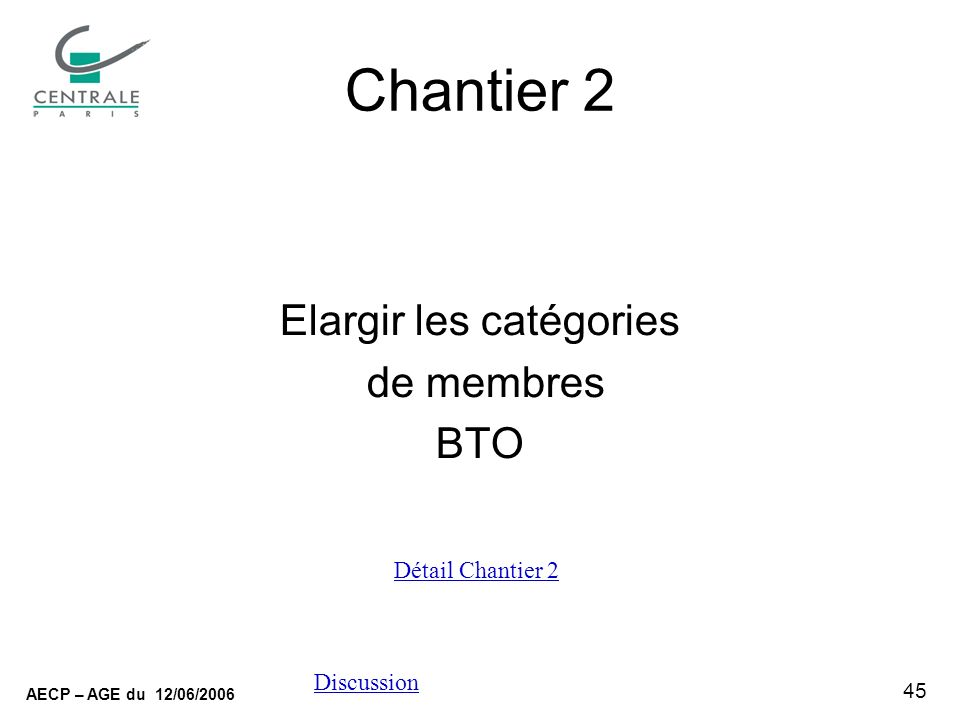 45 AECP – AGE du 12/06/2006 Discussion Chantier 2 Elargir les catégories de membres BTO Détail Chantier 2
