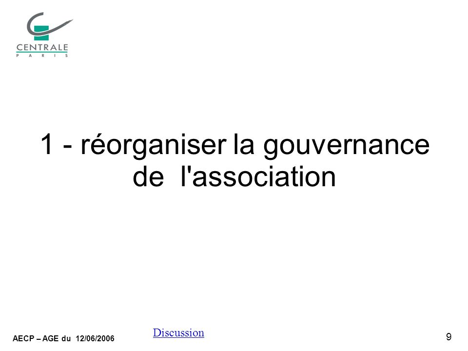 9 AECP – AGE du 12/06/2006 Discussion 1 - réorganiser la gouvernance de l association