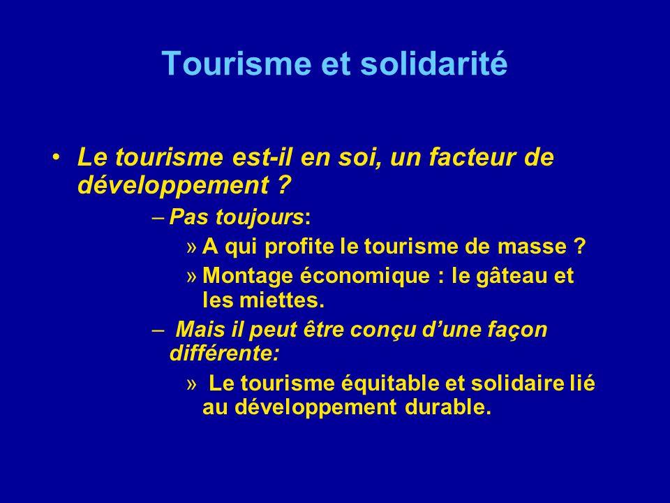 Tourisme et solidarité Le tourisme est-il en soi, un facteur de développement ? –Pas toujours: »A qui profite le tourisme de masse ? »Montage économiq