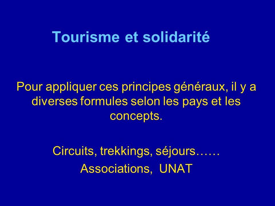 Tourisme et solidarité Pour appliquer ces principes généraux, il y a diverses formules selon les pays et les concepts. Circuits, trekkings, séjours……